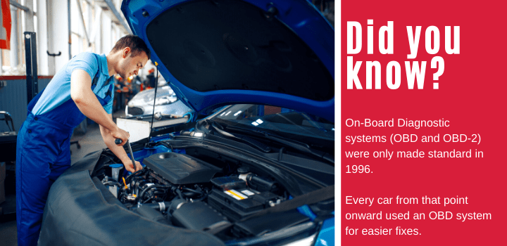 On-Board Diagnostic systems (OBD and OBD-2) were only made standard in 1996. Every car from that point onward used an OBD system for easier fixes.
