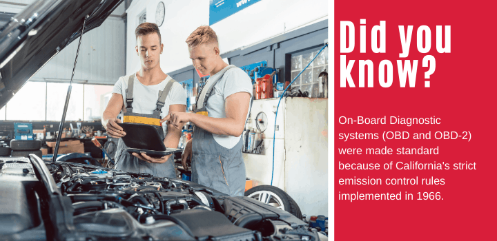 On-Board Diagnostic systems (OBD and OBD-2) were made standard because of California's strict emission control rules implemented in 1966.