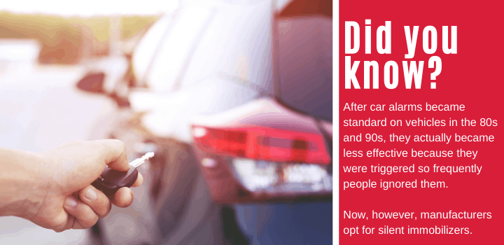 Did you know: After car alarms became standard on vehicles in the 80s and 90s, they actually became less effective because they were triggered so frequently people ignored them. Now, however, manufacturers opt for silent immobilizers.