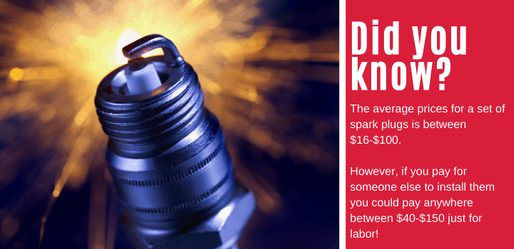 Did you know: The average prices for a set of spark plugs is between $16-$100. However, if you pay for someone else to install them you could pay anywhere between $40-$150 just for labor!
