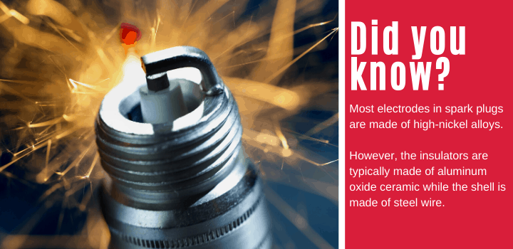 Did you know: Most electrodes in spark plugs are made of high-nickel alloys. However, the insulators are typically made of aluminum oxide ceramic while the shell is made of steel wire.