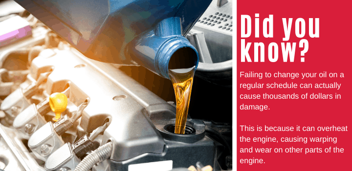 Did you know: Failing to change your oil on a regular schedule can actually cause thousands of dollars in damage. This is because it can overheat the engine, causing warping and wear on other parts of the engine.