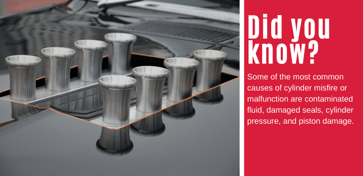 Did you know: Some of the most common causes of cylinder misfire or malfunction are contaminated fluid, damaged seals, cylinder pressure, and piston damage.